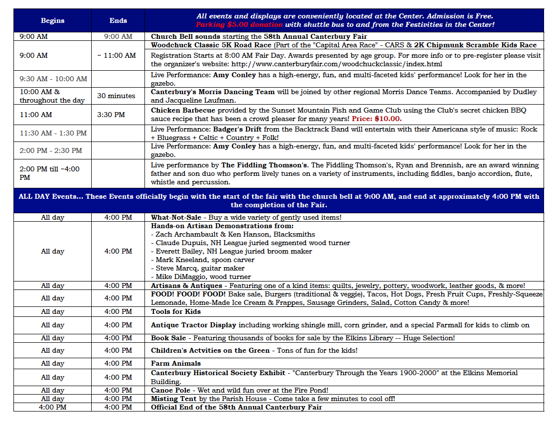 2016 Canterbury Fair Schedule
